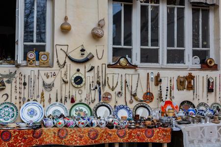 Decoration and furniture store in the historic center of Bukhara,Uzbekistan