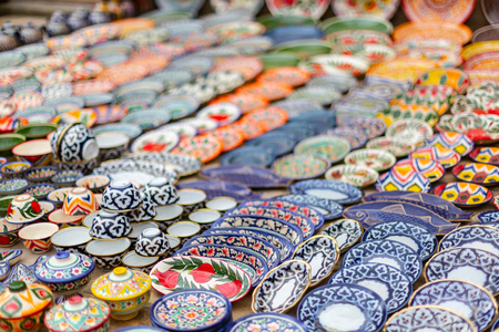 Typical ceramics of Bukhara, in Uzbekistan, Asia Stockfoto