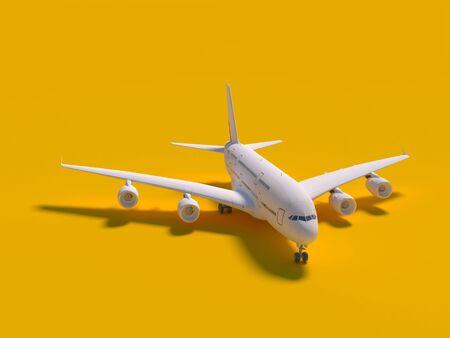 Airplane on yellow background. travel concept. 3d rendering Standard-Bild