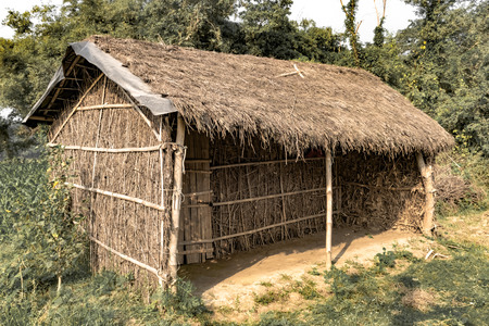 Stammeshütte mit Strohdach, hergestellt aus Bambusstrohhalmen und -stöcken. Eine typische Hausform der Stammesgebiete Ostindiens. Solche Häuser sind temporär und regulieren die Temperatur auf natürliche Weise. - Bild.