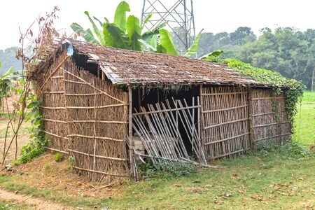 Eco-friendly Tribal Hut in fields having thatched roof, made from biodegradable Bamboo Straws and sticks. A Typical house form of Tribal areas used by farmers and aboriginals as granary. - Image.
