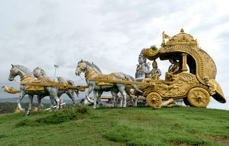 Life size sculpture of very famous Scene from Indian epic Mahabharata, when Lord Krishna as charioteer, give teachings to disciple Arjuna to overcome his dilemma.