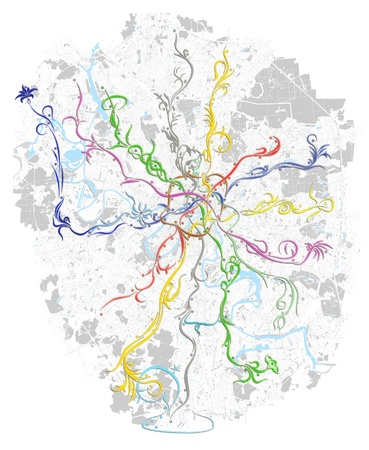 moscow city: Fancy metro map of Moscow on black background