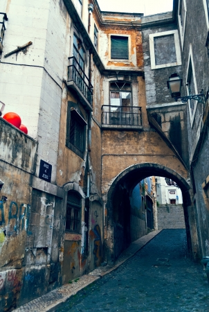 Arco de Jesus  - arch in port slums of Lisbon, Portugal Stock Photo - 17183731