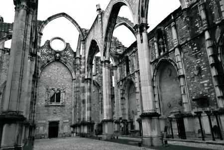chiado: Portuguese ruined church in Lisbon Stock Photo