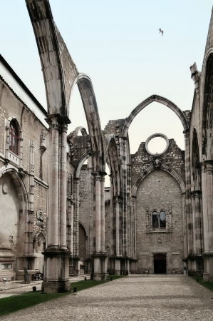 Ruins of Carmo Convent or Igreja do Carmo are the main trace of the great earthquake still visible in Lisbon, Portugal. Stock Photo - 17183772