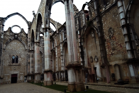 Ruins of Carmo Convent or Igreja do Carmo are the main trace of the great earthquake still visible in the city. Stock Photo - 17183725
