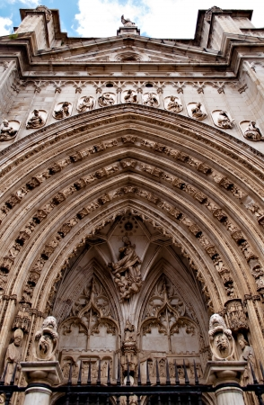 Puerta de los Leones  Portal of the Lions  is the most modern of the great portals of the Toledo Cathedral, Spain  Stock Photo - 17481588