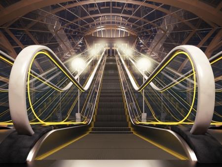 escalator: Close-up of illuminated modern escalator