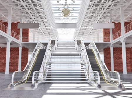 subway station: 3d illustration of stairs and escalators in the spacious premises