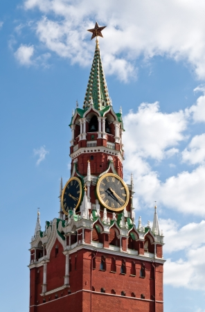 The Spasskaya Tower is the main tower with a through-passage on the eastern wall of the Moscow Kremlin  Russia , which overlooks the Red Square  photo