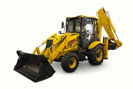 bulldozers: A yellow earth mover isolated on a white background Stock Photo