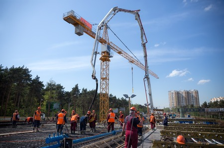 superstructure: MOSCOW - MAY 2  Road construction and concreting the superstructure of the bridge on May 2, 2014 in Moscow