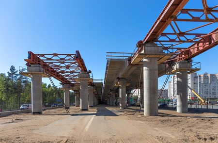 Elevated road construction site  Incremental launch  Фото со стока