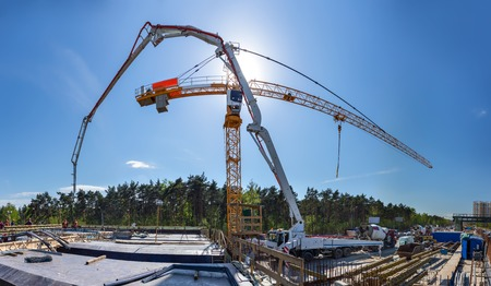 Concreting the grillage of the bridge panorama Stock Photo