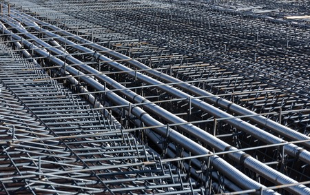 superstructure: Ferro-concrete reinforcement with tensioned cables in the superstructure of the bridge  Stock Photo