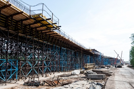 scaffolds: Scaffolds at road construction site