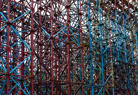 Colored scaffolds for overpass construction photo