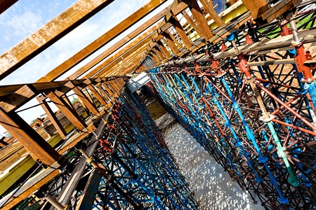 scaffolds: Rusty scaffolds of an elevated road construction