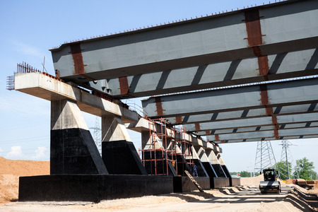 Steel girders for road construction photo