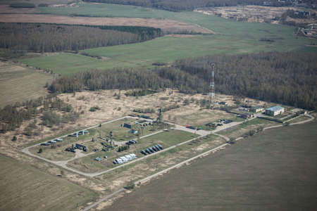 long range: Aerial view of a russian military base with long range surface-to-air missile systems near Moscow.