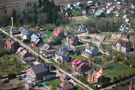 Aerial view of cottages and townhouses near Moscow, Russia