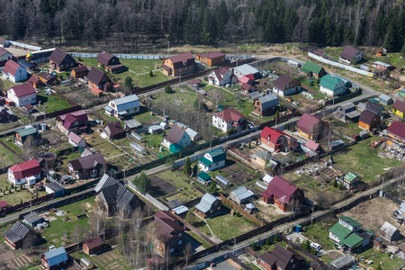 Aerial view of russian village photo