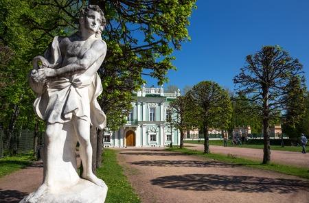 kuskovo: Sculpture in Kuskovo park and italian-style house on the background, Russia Editorial