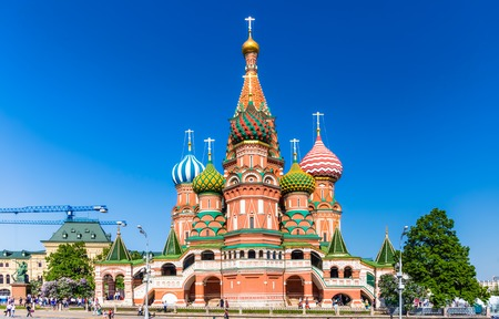 MOSCOW - MAY 18: The Cathedral of Vasily the Blessed on May 18, 2014 in Moscow. A world famous landmark.