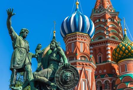 vasily: Statue of Kuzma Minin and Dmitry Pozharsky with Saint Basil Stock Photo