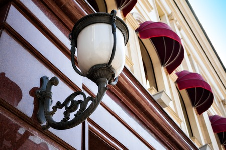 sconce: Vintage lantern on the wall of the old building in old town of Moscow, Russia