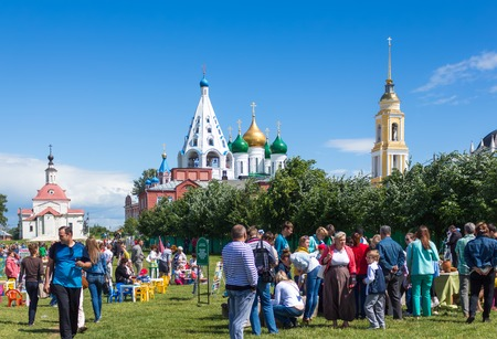 KOLOMNA, RUSSIA - JUNE 12: People celebrating Kolomna 837th anniversary near Kremlin on June 12, 2014 in Kolomna. It was founded in 1177. Kolomna has a kremlin, which is a citadel similar to the more famous one in Moscow.