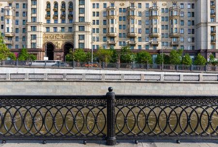 kotelnicheskaya embankment: Lattice on the Yauza embankment infront of Kotelnicheskaya skyscraper in Moscow, Russia