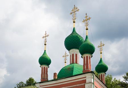 Green cupolas of the Alexandr Nevsky church in Pereslavl-Zalessky, Russia