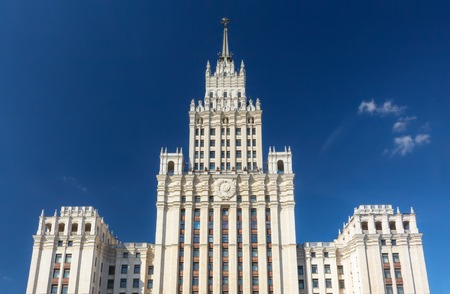 stalin empire style: The Red Gate Building is one of seven Stalinist skyscrapers, designed by Alexey Dushkin. Its name comes from the Red Gate square. Stock Photo