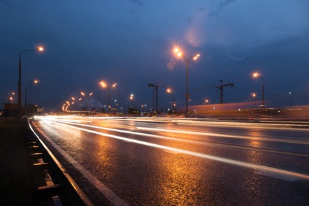 dark night: Moscow Ring Road at evening with light trails