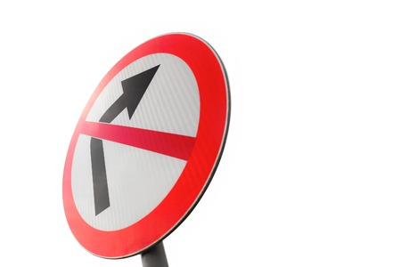 don't: Road sign dont turn right on white background