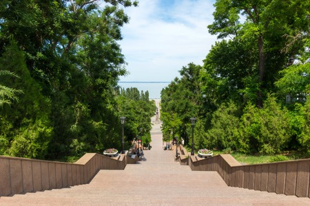 azov sea: Stone stairs leading to the Azov sea in Taganrog, Russia Stock Photo