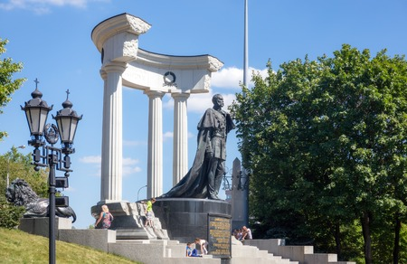 liberator: MOSCOW - JULY 25: Monument to Emperor Alexander II, the Liberator Tsar, situated in the surroundings of the Cathedral of Christ the Saviour on July 25, 2015 in Moscow. Alexander II is best known for his 1861 order to end serfdom by freeing millions of pea