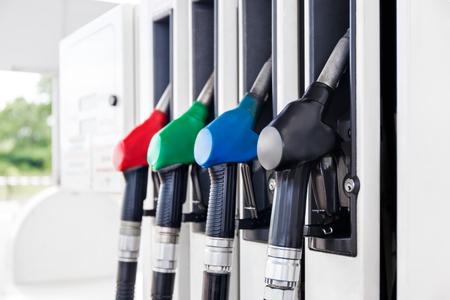 Gekleurde brandstofsproeiers Stockfoto