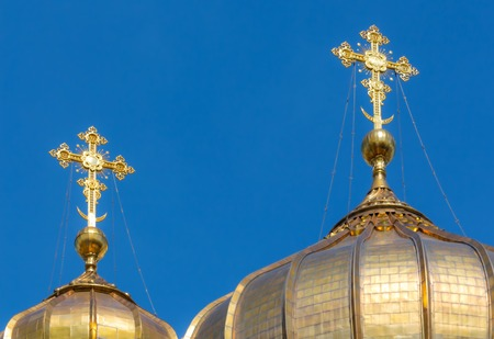 gold cross: Golden crosses of the Cathedral of Christ the Savior in Moscow, Russia Stock Photo