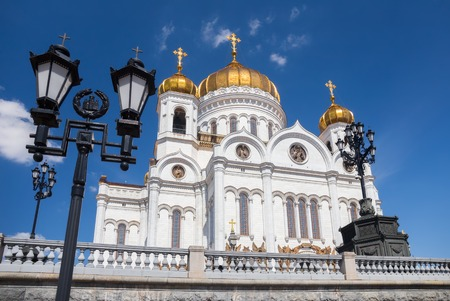 savior: Cupolas of the Cathedral of Christ the Savior and lanterns in Moscow, Russia
