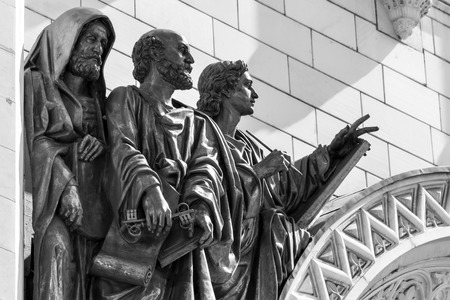 apostle: High relief of St. Apostle Peter and two Evangelists on Cathedral of Christ the Savior in Moscow, Russia.
