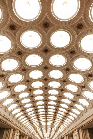 electrolier: Closeup of the ceiling lighting caissons of the Elektrozavodskaya metro station in Moscow, Russia