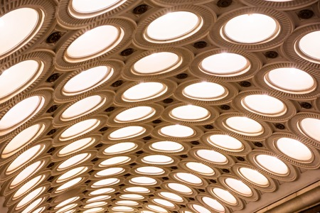 Closeup of the ceiling lighting caissons of the Elektrozavodskaya metro station in Moscow, Russia