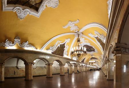 electrolier: MOSCOW - MARCH 3: Komsomolskaya metro station on March 3, 2016 in Moscow. Komsomolskaya is one of the most attractive metro station in Moscow. Editorial