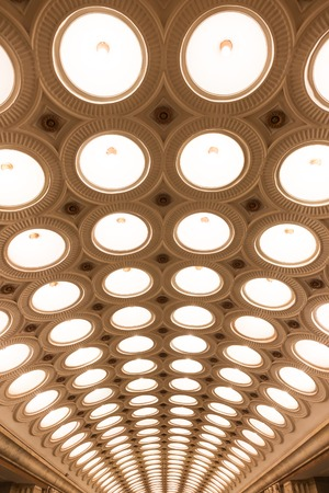 electrolier: MOSCOW - MARCH 3: Closeup of the ceiling lighting caissons of the Elektrozavodskaya metro station on March 3, 2016 in Moscow. It is one of the most spectacular stations of the Moscow subway.
