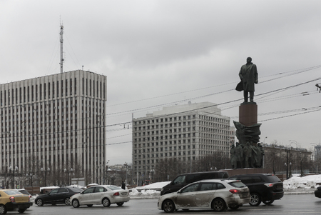surly: The V. Lenin monument at Kaluzhskaya Square during dull day in Moscow, Russia