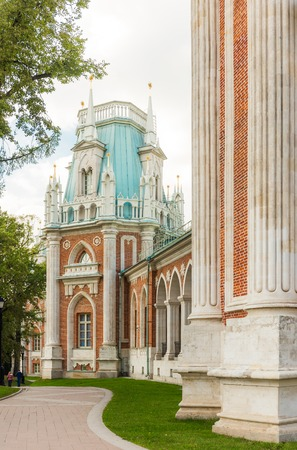 The grand palace in Tsaritsyno, Moscow with curved footpath Editorial