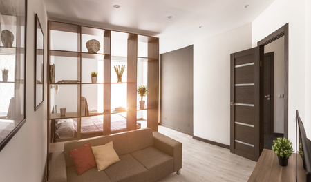 apartment living: Living room in modern apartment with sun backlight